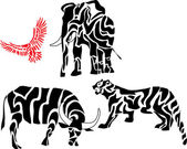 Set of african animal silhouettes — Stock Vector