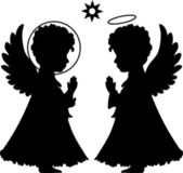 Cute angels silhouettes set — Stock Vector