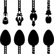 Set retro vector silhouettes of spoons - Stock Vector