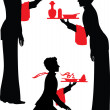 Stock Vector: Silhouette Waiter with tray