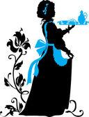 Hausmädchen silhouette — Stockvektor