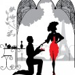 Man proposes a woman to marry/ Marriage proposal - Stock Vector