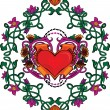 Royalty-Free Stock Vektorfiler: Valentine card decor. Heart with flowers.