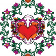 Valentine card decor. Heart with flowers. — 图库矢量图片