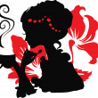 Royalty-Free Stock ベクターイメージ: Woman silhouette with a cup of coffee.