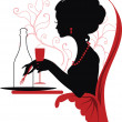Silhouette of woman relaxing in restaurant - Stock Vector