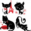 Stock Vector: Set of cats silhouettes