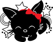 Sleepping Cat silhouette with bow — ストックベクタ