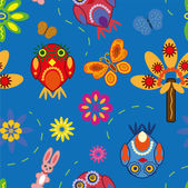 Seamless pattern with owls — ストックベクタ