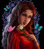 Portrait of a beautiful elf with rose — Stock Photo
