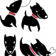 Set of funny cartoon black dogs — Stock Vector