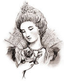 Sketch of woman baroque — Stock Photo