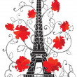 Stock Vector: Eiffel tower vector silhouette