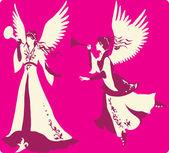 Zestaw pięknych aniołów sylwetki — Wektor stockowy