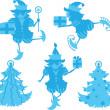 Stock Vector: Elves Silhouettes