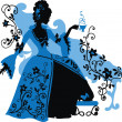 Graphic silhouette of a rococo woman — Stock vektor