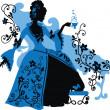 图形轮廓的洛可可式的女人 — 图库矢量图片