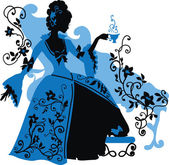 Graphic silhouette of a rococo woman — Stock Vector