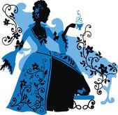 Graphic silhouette of a rococo woman — Stock Vector