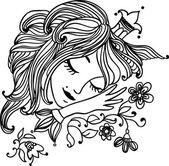 Sleeping beautiful princess — Stock Vector