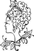 Woman vintage profile — Stock Vector