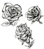 Flower sketch set — Stockfoto