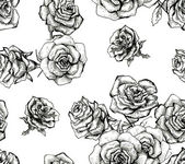 Flower sketch bouquet seamless pattern — Stock Photo