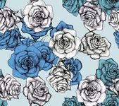 Flower sketch bouquet seamless pattern — Stock Photo
