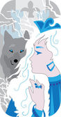 Princess and wolf illustration — Vector de stock