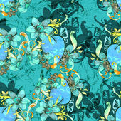 Heart with flowers. Seamless pattern — Stock Photo