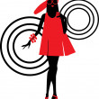 Seventies fashion woman silhouette — Stock Vector