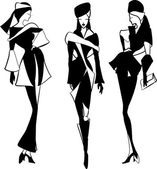 Graphic vintage women silhouettes — Vettoriale Stock