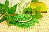 Jabón casero y sal con ortigas — Foto de Stock