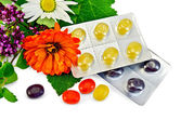 Lozenges cough multicolored with herbs — Stock Photo