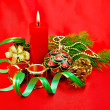 Christmas composition with a candle — Stock Photo #14893409