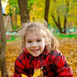 Little girl with a bunch of yellow leaves — Stock Photo