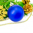 Christmas blue ball with golden ornaments - Stock Photo