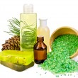 Stock Photo: Oil with toiletries and cedar cones