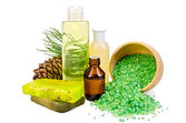 Oil with toiletries and cedar cones — Stock Photo