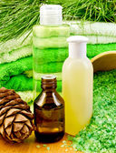 Oil and Gel with cedar cones — Stock Photo