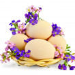 Stock Photo: Eggs with flowers