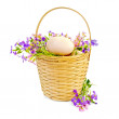 Eggs with flowers in a wicker basket — Stock Photo