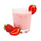 Milkshake with strawberries cut — Stock Photo