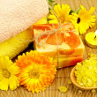 Soap and bath salt with calendula — Stock Photo