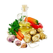 Jerusalem artichokes with vegetables and oil — Stock Photo