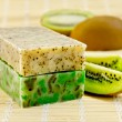 Soap homemade with kiwi — Stock Photo