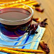 Tea hibiscus with bread and bread sticks - Stock Photo