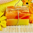 Soap homemade with calendula — Stock Photo