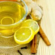 Tea ginger on a burlap with honey and lemon — Stock Photo #24953837