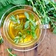 Herbal tea with Rhodiola rosea on the board — Stock Photo